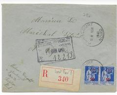 1941 - ENVELOPPE Avec RECOMMANDE PROVISOIRE De ABANCOURT (NORD) => MARECHAL PETAIN (VICHY) - CACHET DELEGATION GENERALE - Marcophilie (Lettres)
