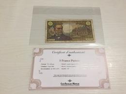 BILLET FRANÇAIS Ancien 5 FRANCS PASTEUR 1969 Avec Certificat - 5 F 1966-1970 ''Pasteur''
