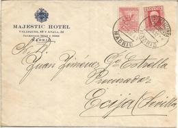 MADRID 1932 CC URGENTE A ECIJA SEVILLA MAT BUZONES COLUMNA MEDIODIA AL DORSO LLEGADA Y 2 ABMULANTES - 1889-1931 Reino: Alfonso XIII