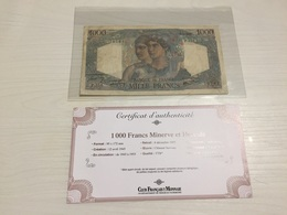 BILLET FRANÇAIS Ancien 1000 FRANCS MINERVE ET HERCULE  1946 Avec Certificat - 1871-1952 Anciens Francs Circulés Au XXème