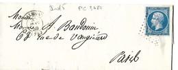 Seine-inferieure 76 PC Sur 14A + CàD Type15 De Valmont Indice 5 - Marcophilie (Lettres)