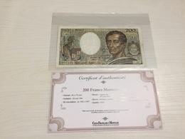 BILLET FRANÇAIS Ancien 200 FRANCS MONTESQUIEU  1981 Avec Certificat - 1962-1997 ''Francs''