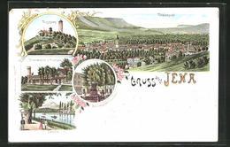 Lithographie Jena, Totalansicht Mit Umgebung, Fuchsturm, Kriegerdenkmal Und Forsthaus, Burschenschafts-Denkmal - Jena