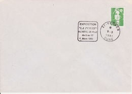 """Bureau Temporaire Département De L'Eure 27 : 9-3-1991 VERNON Daguin Flamme """"Exposition La Poste à L'Hôtel De Ville..."""" - Gedenkstempel"""