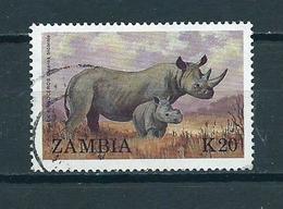 1988 Zambia Animals,dieren,tiere,rhino,K20 Used/gebruikt/oblitere - Zambia (1965-...)