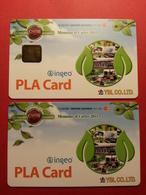 Corea Sud - 2 Ingeo MUSTER PLA Card Paper GSM SIM Mint Salon Cartes 2011 YGL PLACARD DEMO TEST TRIAL (SACROC) - Corée Du Sud