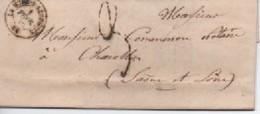 LETTRE DE LAMURE S AZERGUES 01/02/46  POUR CHAROLLES  TAXE 3 - 1801-1848: Précurseurs XIX