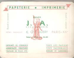 Buvard Papeterie Imprimerie Société J.A. 6, Cité Aubry Paris XX ème - Papeterie