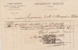 FACTURE IMPRIMERIE MERSON - BULLETINS ELECTIONS MUNICIPALES 1888 - CHAVAGNES EN PAILLERS VENDEE - JAGUENEAU - 1800 – 1899
