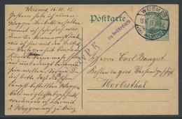 Postwaardestuk 5 Pf Stempel Weimes 15.10.15 - Guerre 14-18
