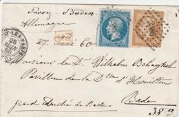 France Lettre Passy Les Paris Pour Le Grand Duché De Bade 1860 - Marcophilie (Lettres)