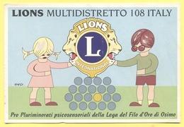 Tematica - Disegno Infantile - 2 Bambini Reggono Lo Stemma Del Lions Multidistretto 108 - Not Used - Disegni Infantili