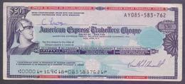 American Express Travelers Cheque US$50 (AY085-583-762) - Chèques & Chèques De Voyage