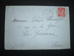 LETTRE TP IRIS 1F OBL. Tiretée 15-2 41 BEAUJEU ST VALLIER HAUTE-SAONE (70) - Marcophilie (Lettres)