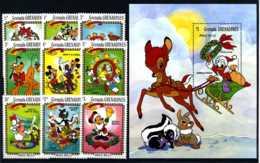 E17673)Disney, Grenada-Grenadinen 570/8** + Bl 76** - Disney