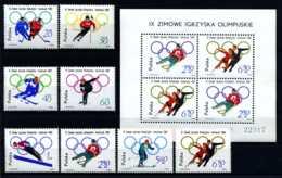 E18529)Olympia 64, Polen 1457/64** + Bl 32**, Nr. 1462/3 Je Kleiner Haftpunkt - Hiver 1964: Innsbruck