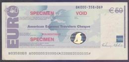 "50 EURO American Express Travellers Cheque With Hologram ""SPECIMEN"" - Chèques & Chèques De Voyage"