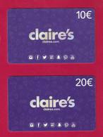 2 Carte Cadeau.   CLAIRE'S.    Gift Card. - Cartes Cadeaux