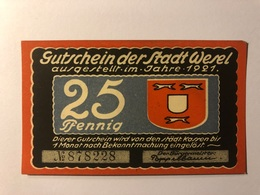 Allemagne Notgeld Wesel 25 Pfennig - [ 3] 1918-1933 : République De Weimar