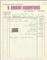 Oostende (Factuur)  *   Quincaillerie Centrale R. Bekaert - Vanduyfhuys  (Adolf Buylstraat, 11) - Belgique