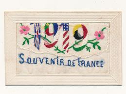 Carte Brodée Patriotique à Rabat - Souvenir De France 1919, Drapeaux Alliés - Brodées