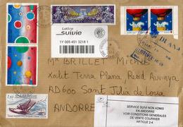 """Lettre Suivie De France, Avec Vignette """"Service Suivi Non Admis En Andorre"""", Et Passage DUANA ANDORRA - France"""