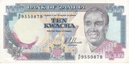 BILLETE DE ZAMBIA DE 10 KWACHA DEL AÑO 1989  (BANKNOTE) - Zambie