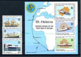 E20663)Schiffe, St. Helena 536-8 + Bl 10 - Schiffe