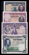 España Lote 4 Billetes República 25 50 100 100 Pesetas 1925-1928 MBC- AVF - [ 2] 1931-1936 : República