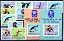E23477)Olympia 68, Nordjemen 464/73 A** + Bl 63** + 64** - Winter 1968: Grenoble