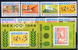 E23608)Olympia 68, Nordjemen Königreich 493-502 A**, OHNE 500 A** + Bl 74** + 76** - Sommer 1968: Mexico