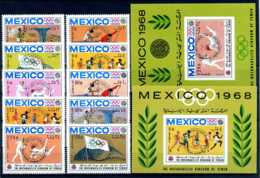 E23609)Olympia 68, Nordjemen Königreich 604/13 A** + Bl 136** + 139** - Sommer 1968: Mexico