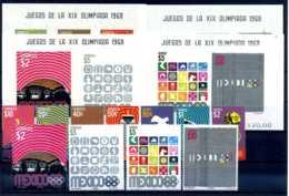 E23644)Olympia 68, Mexico 1282** + 1283/92** + Bl 15-18** - Sommer 1968: Mexico