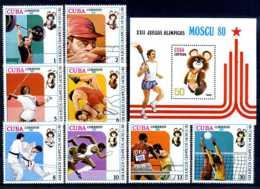 E23824)Olympia 80, Kuba 2454/61** + Bl 61** - Ete 1980: Moscou