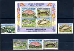E23902)Olympia 80, St. Thomas + Prinzeninseln 632/6 A ** + Bl 43 A** - Sommer 1980: Moskau