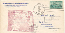 USA SAS First Trans Arctic Flight Los Angeles - Copenhagen Via Greenland 19-11-1952 (2 Kr. Paid To The Greenland Fund) - United States