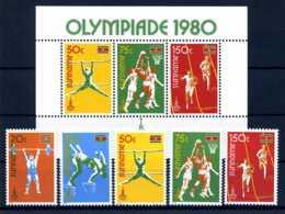 E24291)Olympia 80, Surinam 905/9** + Bl 25** - Ete 1980: Moscou