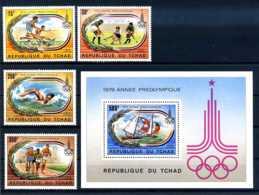 E24295)Olympia 80, Tschad 867/70** + Bl 78** - Ete 1980: Moscou