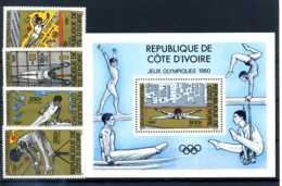 E24549)Olympia 80, Elfenbeinküste 649/52** + Bl 16** - Ete 1980: Moscou