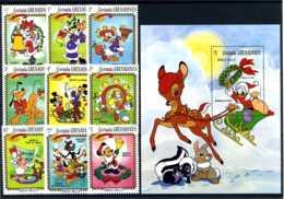 E24688)Disney, Grenada-Grenadinen 570/8** + Bl 76** - Disney