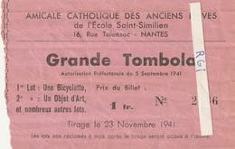 Nantes---loire Atlantique---44---billet De Tombola --ecole Saint Similien - Vieux Papiers