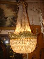 """Lustre Type Montgolfière à 8 Lampes En Bronze Et Cristal De Style """"Louis XVI"""" époque Début XX ème - Luminaires"""