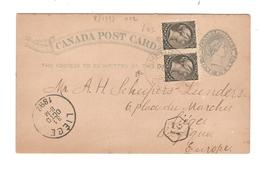 PR7021/ Canada Entire CP + TP C.Sherbrooke 1892 To Belgium Liège C.d'arrivée - 1860-1899 Reign Of Victoria