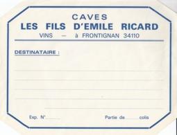 ETIQUETTE DE COLISAGE - LES FILS D'EMILE RICARD - VINS - FRONTIGNAN 34 HERAULT - Etiquettes
