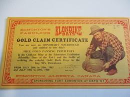 Gold Claim Certificate En Anglais/Façon Carte Postale/ Avec Chercheur D'Or/Edmonton/ALBERTA/Expo 67   DT46 - Tourism Brochures