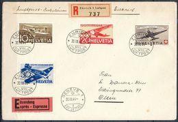 Schweiz Suisse 1944: PRO AERO Zu F37-40 Mi 435-438 Yv PA36-39 R-Exprès Mit O ZÜRICH 20.IX,44 Nach GENÈVE (Zu CHF 32.50) - Poste Aérienne