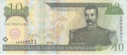 BILLETE DE REP. DOMINICANA DE 10 PESOS ORO DEL AÑO 2000 SERIE AM EN CALIDAD EBC (XF) (BANKNOTE) - República Dominicana