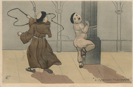 Chatiment Corporel Moine Fouettant Un Enfant Nu Attaché Amende Honorable Monk Punishing Youg Nude Boy With Whip - Dessins