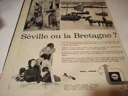 ANCIENNE PUBLICITE SEVILLE OU LA BRETAGNE CATOGUIDES  SHELL   1960 - Transports