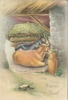 Carte Postale Des Années 60 Avec Scène Dépliante à L'intérieur Quand On L'ouvre - Joyeux Noël - Crêche - Cartoline Con Meccanismi